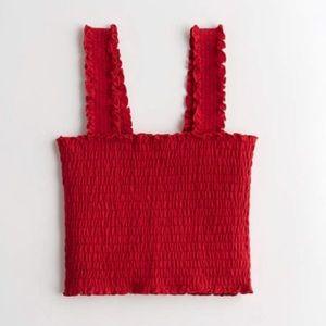 HOLLISTER Smocked Square-Neck Crop Top - Red